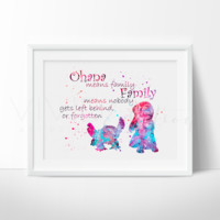 Lilo & Stitch Quote 2 Watercolor Art Print