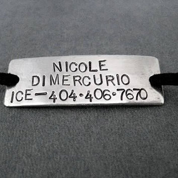 EMERGENCY ID CONTACT Wrap Bracelet / Shoe Lace Plate - Name plus I.C.E. Phone Number - Nickel Silver Pendant on 3 feet of Micro Fiber Suede