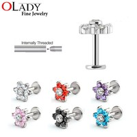 Flower Style Tragus  Earring 100% Titanium G23 Labret Lip Piercing Tragus Ring  Body Jewelry