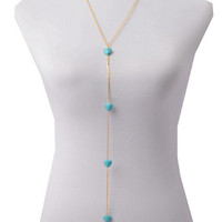 Gold Heart Turquoise Body Chain