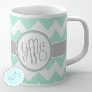 Custom Mint chevron coffee mug with Grey by ButterflyGhost on Etsy