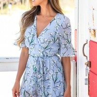 Light Blue Floral Wrap Dress with Ruffles