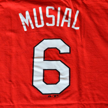 90s St. Louis Cardinals Stan the Man Musial T-shirt - XL Extra Large Majestic Baseball T-shirt