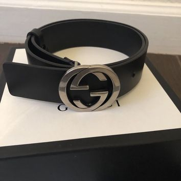 Black Leather Gucci Belt with interlocking GG - Size 75 - Original bag and box.