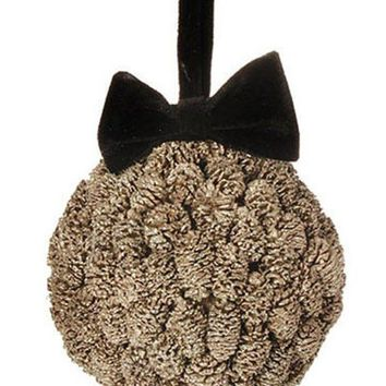 MDIGMS9 5' Gold Metallic Pine Cone Ball with Black Bow Christmas Ornament