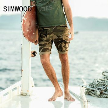 SIMWOOD 2017 New  Summer Camouflage Shorts Men Cargo Military Pocket Slim Fit Brand Clothing Fashion Plus Size  XD017048