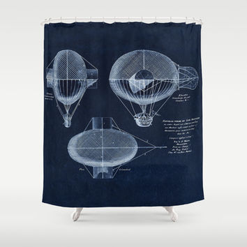 Antique Blueprint French Balloon Airship, Steampunk Shower Curtain by Tina Lavoie's Glimmersmith