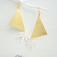 Bold Graphic Brass Lace Earrings - Tropical Big Geometric Earrings - Festival Fashion - Bridesmaids - White and Golden - Wedding Boho Bride