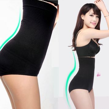 Fashion Women High Waist Breathable Trigonometric Panties Slim Seamless Body Shaping Pants Shaping Underwear Black/ Skin color