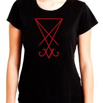Red Sigil Of Lucifer Women's Babydoll Shirt Top Occult Clothing