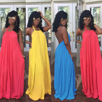 Candy Color Halter Backless Long Party Dress