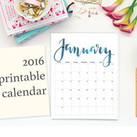 2016 Printable Calendar, Handdrawn Calligraphy, Letter Size, 8.5 x 11, Editable, Instant Download, Wall