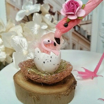 mommy and baby shower flamingo  cake topper