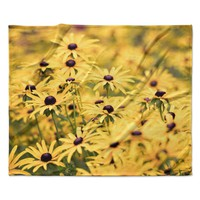 "Debbra Obertanec ""Pantone Yellow"" Flower Daisy Fleece Throw Blanket"