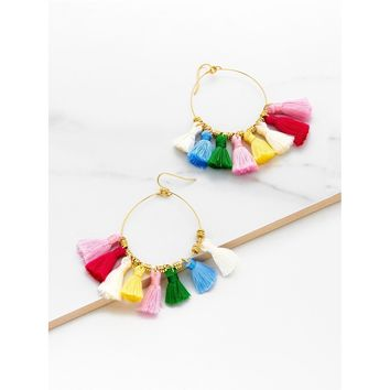 Mini Tassel Hoop Earrings