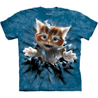 GINGER KITTEN BREAKTHROUGH The Mountain Funny Cute Baby Cat T-Shirt S-5XL NEW
