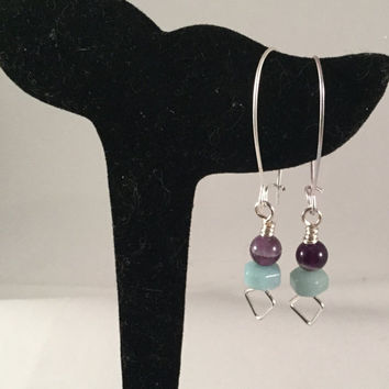 Amethyst bead earrings, amazonite drop, gemstone earrings, dogs tooth amethyst, blue and green jewelr, gift for her, under 20