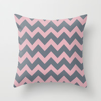 Chevron Coral Pink Gray Throw Pillow by BeautifulHomes