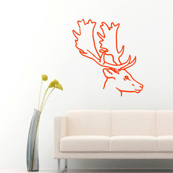 Wall Decals  Animals Decal Deer Antler Horns Fauna Safari Hunting Art Mural Bedroom Kids Living Room Kitchen Vinyl Sticker Home Decor ML115
