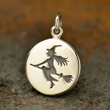 Sterling Silver Witch Charm - Halloween Charms