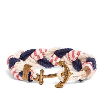 Kiel James Patrick Navy, White and Red Braided Bracelet - Brooks Brothers