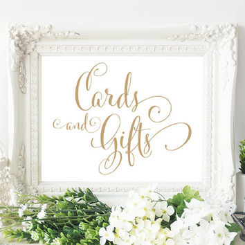"Cards and Gifts Sign - 8x10 sign - Printable sign in ""Bella"" antique gold script - PDF and JPG files - Instant Download"