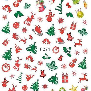 1Sheet Christmas Mixed Nail Art Stickers Ultra thin 3D Nail Sticker Xmas Pattern Adhesive Decals Charm Nail Art LAF271-280