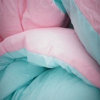 Bleached Aqua/Calm Pink Reversible College Comforter - Twin XL Girls Dorm Bedding
