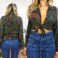 Vintage 1970's PAISLEY Psychedelic Tie Up Crop Blouse || Size Small To Medium