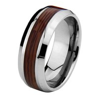 8mm Wood Inlay Men's Tungsten Wedding Band