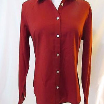Talbots  Blouse Shirt Women's size 6 Long Sleeve Button Front Color Red