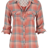 Relaxed Plaid Button Down Shirt - Bisque Combo
