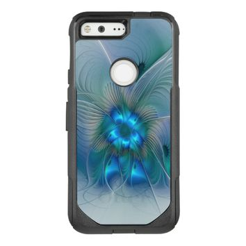 Standing Ovations, Abstract Blue Turquoise Fractal OtterBox Commuter Google Pixel Case