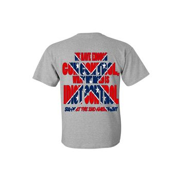Men's Confederate Rebel Flag T Shirt What We Need Is Idiot Control Short Sleeve Tee Front and Back Graphic