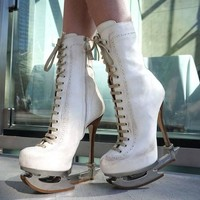 New DSQUARED2 *SKATE MOSS* Runway Ice Skate White Ankle Leather Boots It 39