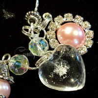 Real Preserved Snowflake for sale, Necklace, Real Snowflake, Frozen, OOAK, rhinestones halo, pink pearl, ab crystal