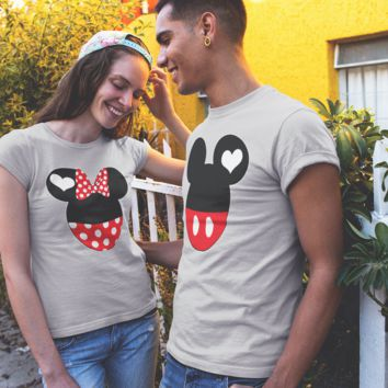 Mickey Minnie His Her Couple Matching Love Set T-shirt