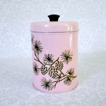 Vintage Pink Storage Tin Canister - Retro Pink Kitchen Nesting Canister - Decorative Pink Tin Canister