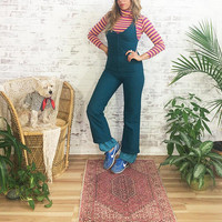 Vintage 1970's Fitted SNOWPANTS || Slim Peacock Blue Snow Bunny Pants || Size XS To S
