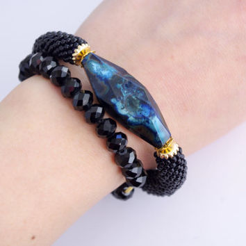 Black Blue stone bangle - Agate stone statement bracelet - Modern stylish chic crochet rope bracelet - crochet cord bracelet