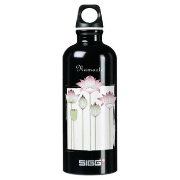 Pink Lotus Flower Namaste Modern Chic Custom Water Bottle