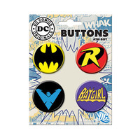 Batman Family Logo Button Set