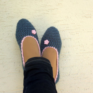 Crochet denim slippers, womens slippers, home socks, home shoes for ladies, mary jane slippers, gift for her, Valentines day gift