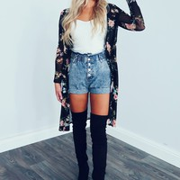 Fall Florals Cardigan: Black/Multi
