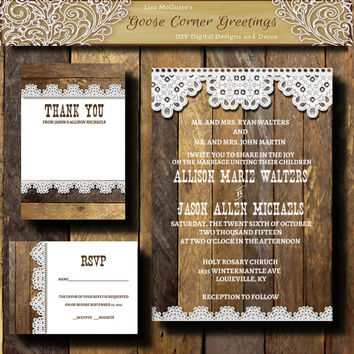 Rustic Wood Wedding invitation suite,Country Wedding Invitation kit,Rustic Wedding,Wedding Invitation, Wood N Lace Wedding, Barn Wedding