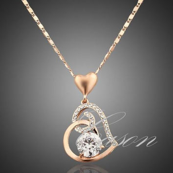 Stunning Love Heart Chain Pendant 18K Rose Gold Plated Swarovski Crystal Necklace