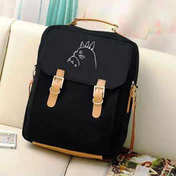 Anime Kawaii Totoro Emoji Women Canvas Backpack