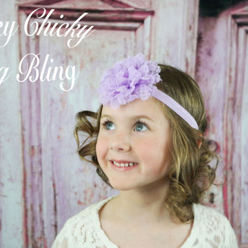 Girls Rugged and Rustic Lace Flower Headband
