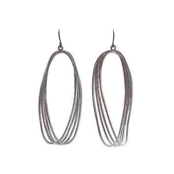 Dangle Titanium Hoop Earrings Large Silver Textured Hoop Earrings Hypoallergenic Earrings For Sensitive Ears Nickel Free Earrings Minimalist
