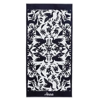 Vibrant Jacquard Beach Towel - Navy